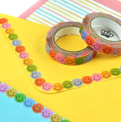 Smiling Faces Slim Washi Tape-Colorful Smiley Face