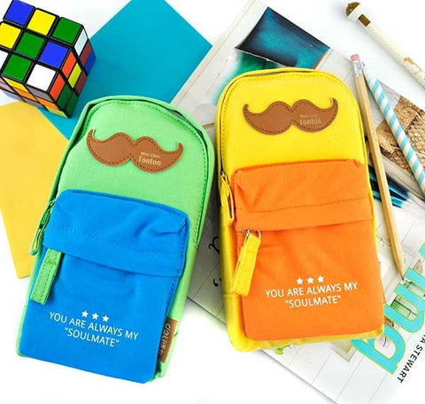 Mustache Soulmate Backpack Pencil Pouch