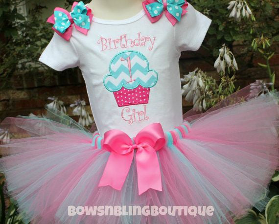 1st Birthday Outfit Aqua Pink Cupcake Chevron Tutu First Birthday