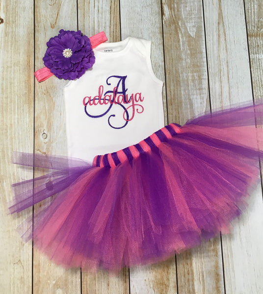 Monogram baby tutu outfit first birthday purple and pink