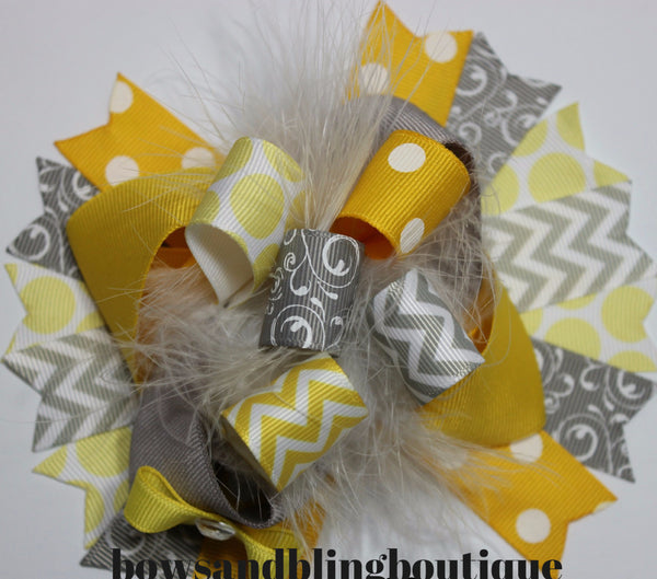 Boutique Hair bow yellow and grey over the top funky hair bow