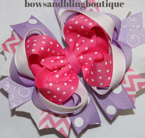 Hair bow lavender and hot pink Boutique Bows