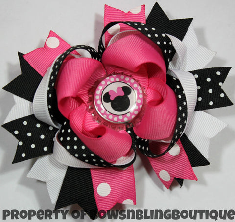 Minnie Mouse Hot Pink Hair bow Set Boutique Bows