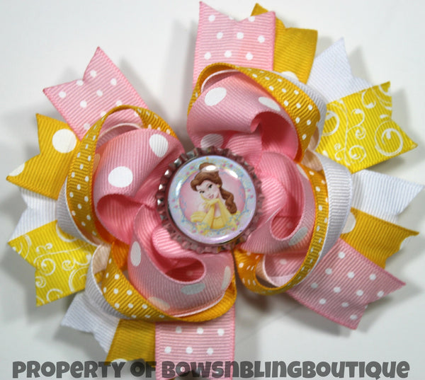 Belle Hair bow Beauty and the Beast Boutique Bows