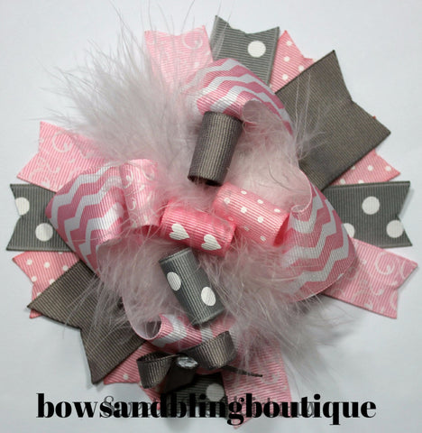 Boutique Hair bow pink and grey over the top funky hair bow