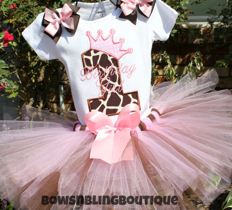 1st Birthday Outfit Pink and brown giraffe Chevron Tutu First Birthday