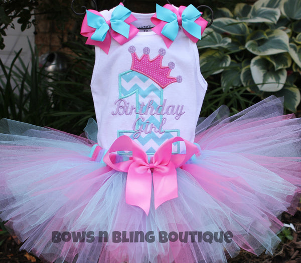 1st Birthday Outfit Aqua, lavender, Hot Pink Chevron Tutu First Birthday