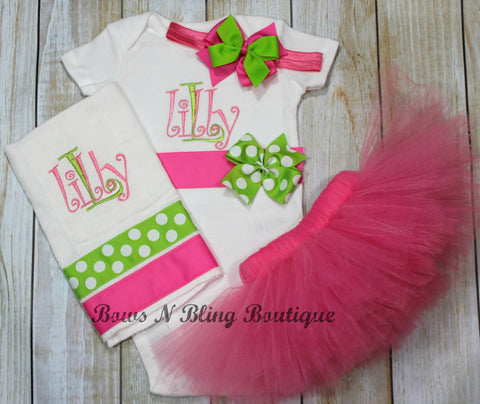 Hot Pink & lime green Monogram Baby Newborn Tutu Outfit Bodysuit, Burp Cloth, Tutu