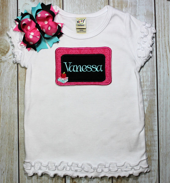 Back to School Shirt Chalk Board Personalized with Name~~ Includes Hair bow!