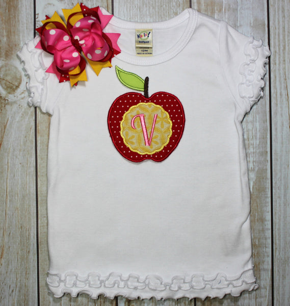 Back to School Shirt Apple Personalized with Name~~ Includes Hair bow!