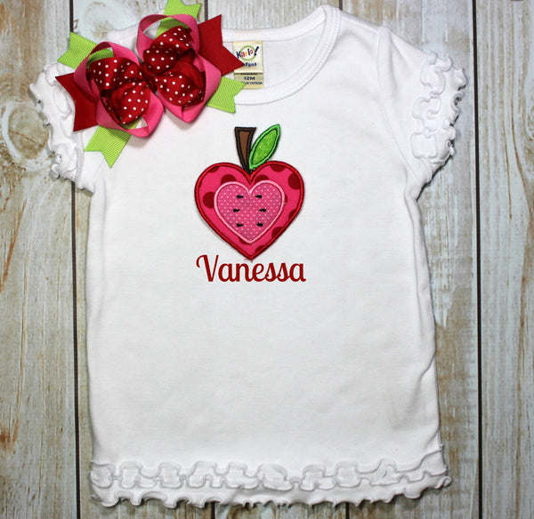 Back to School Shirt Heart Apple Personalized with Name~~ Includes Hair bow!