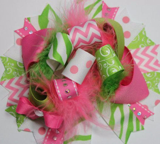 Boutique Hair bow hot pink and lime green over the top funky hair bow