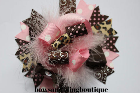 Boutique Hair bow pink and brown over the top funky hair bow