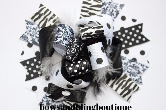 Boutique Hair bow black and white over the top funky hair bow