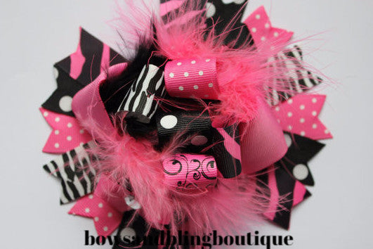 Boutique Hair bow pink and black over the top funky hair bow