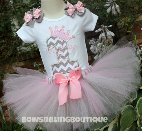 1st Birthday Outfit Pink and Grey Chevron Tutu First Birthday