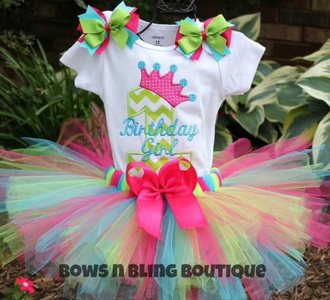 1st Birthday Outfit Pink, Lime, Turquoise Chevron Tutu First Birthday