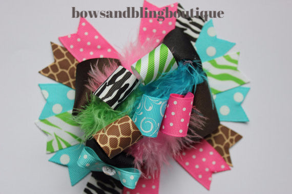 Boutique Hair bow animal print over the top funky hair bow
