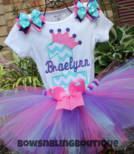 1st Birthday Outfit Aqua, Purple, Hot Pink Chevron Tutu First Birthday