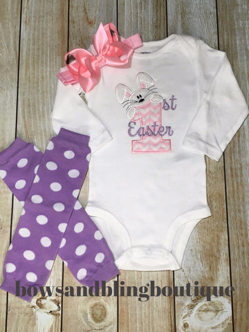1st Easter Shirt Easter Bunny embroidered Shirt Girls 1st Birthday