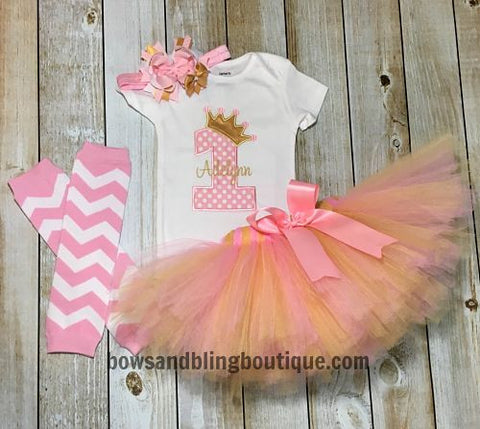 Pink and Gold 1st Birthday Outfit