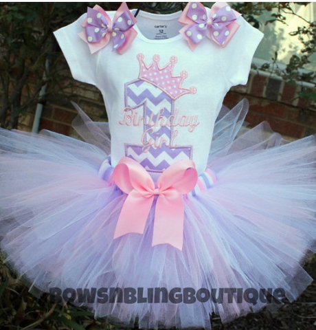 1st Birthday Outfit Lavender Pink Chevron Tutu First Birthday Princess