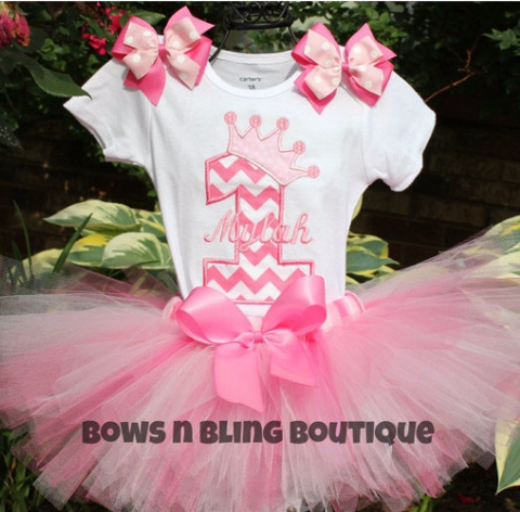 1st Birthday Outfit Pink Chevron Tutu First Birthday