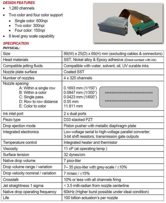 Ricoh Gen5 / 7PL Printhead, Water-based, 52cm Long with The Head, 39cm Long for The Cable - J36004 - INKJETPARTS.NET