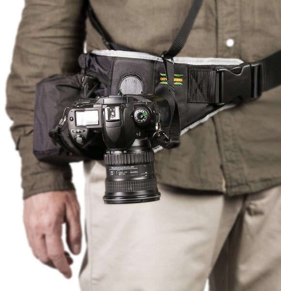 Cotton Carrier Endeavor belt, lens belt pouch with safety tether, camera belt