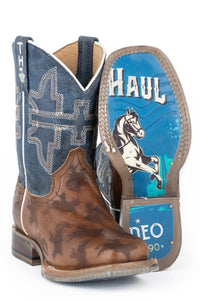 LITTLE BOYS ROUGH STOCK WITH RODEO POSTER SOLE LEATHER OILY BROWN ETCHED VAMP WITH BURNISHED TURQUOISE UPPER