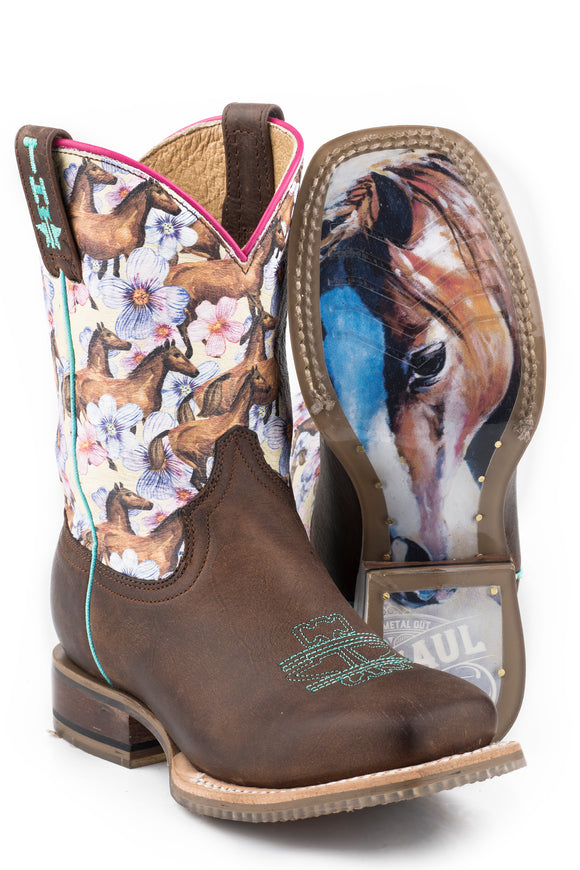 LITTLE GIRLS CHESTNUT AND DAISY WITH MY BEST FRIEND SOLE LEATHER BURNISHED DARK BROWN VAMP WITH HORSES AND FLOWERS PRINTED UPPER