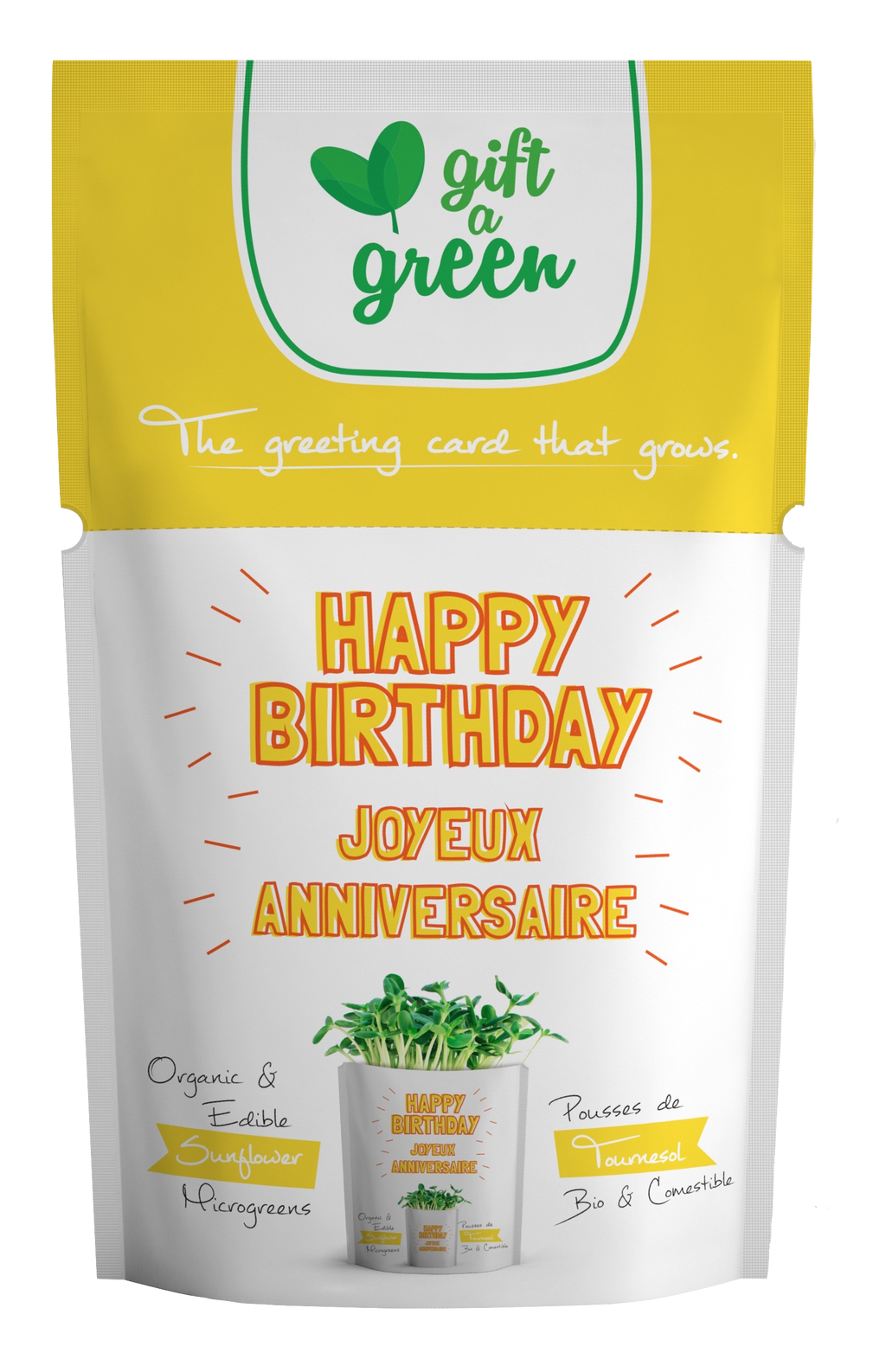 Sunflower Microgreens Happy Birthday Card