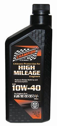 Champion Brands 4030H High Mileage 10W-40 SM Motor Oil - 12 Quart Case