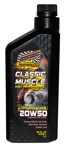 Champion Brands - Classic & Muscle Synthetic Blend 20w-50 Motor Oil, 1x1 Qt.