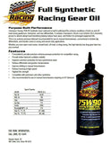 Champion Brands - Racing Full Synthetic 75W-90 Gear Lubricant, 1x1 Qt.
