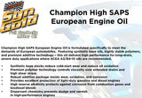 CHAMPION RACING OIL EUROPEAN SYNGOLD FULL SYNTHETIC 5W-40 (6 QUARTS) SAPS 4434H