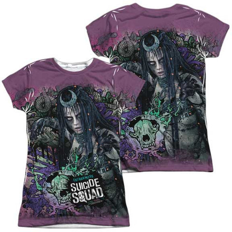 Front/Back Junior Fit - Suicide Squad - Enchantress Psychedelic Cartoon All Over
