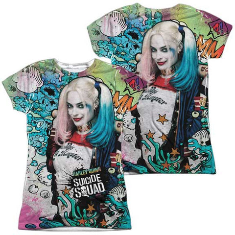 Suicide Squad Psychedelic Cartoon (Front Back Print) Juniors Sublimation Shirt