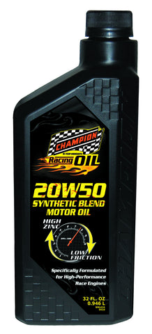Champion Brands - Synthetic Blend 20w-50 Racing Motor Oil, 1x1 Qt.