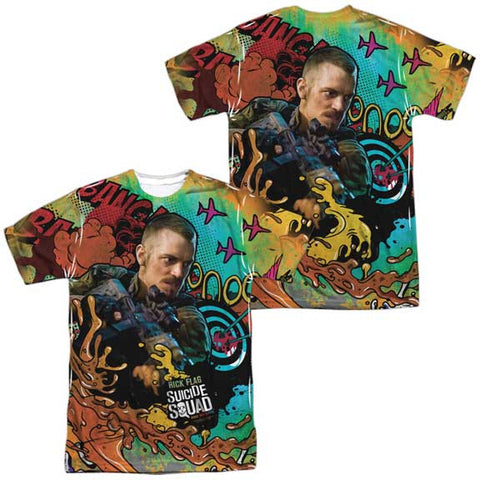 Suicide Squad RICK FLAG PSYCHEDELIC CARTOON MENS SUBLIMATED TEE