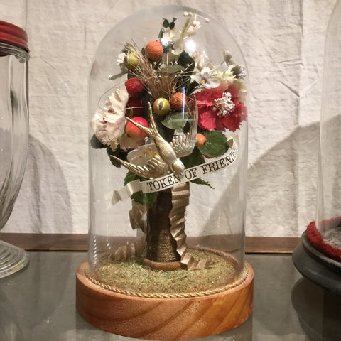 Antique Silk Flower Bouquet Under Glass Dome