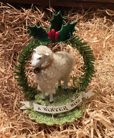Tiny Sheep and Wreath Ornament