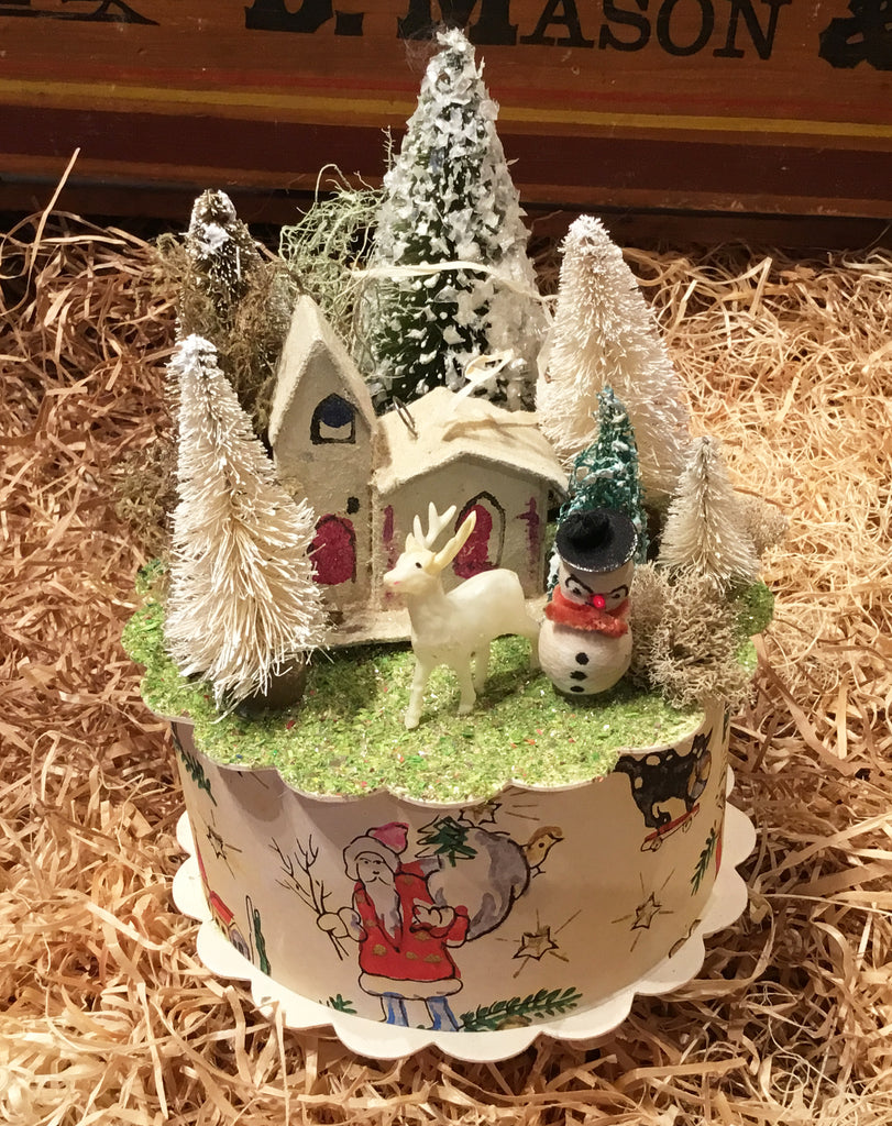 Miniature Vintage Winter Village Box
