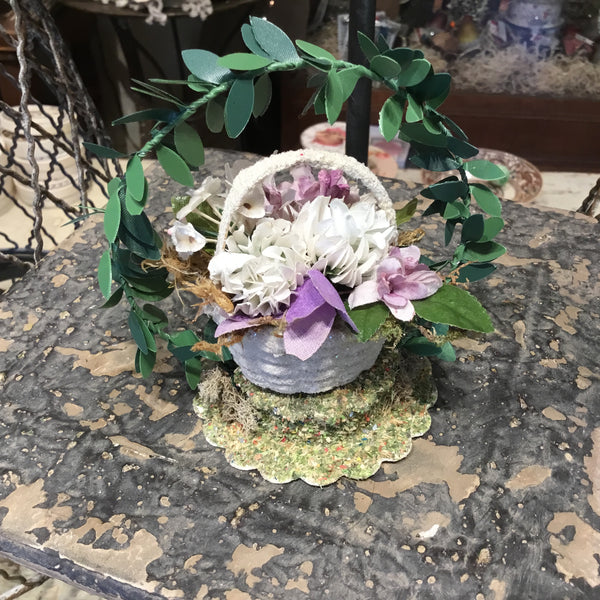 Tiny Baskets of Antique Flowers
