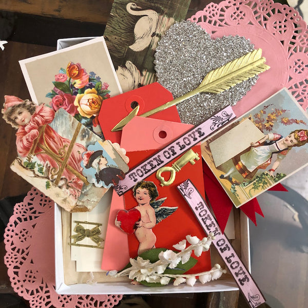 Valentine Kit with Vintage Materials and Glittery Goodness