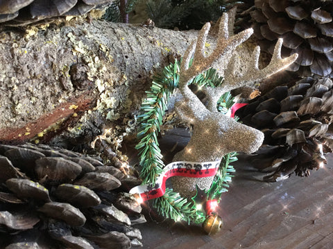 Glittered Reindeer and Wreath Ornament