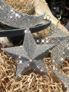 Dimensional Silver Glitter Stars and Moon