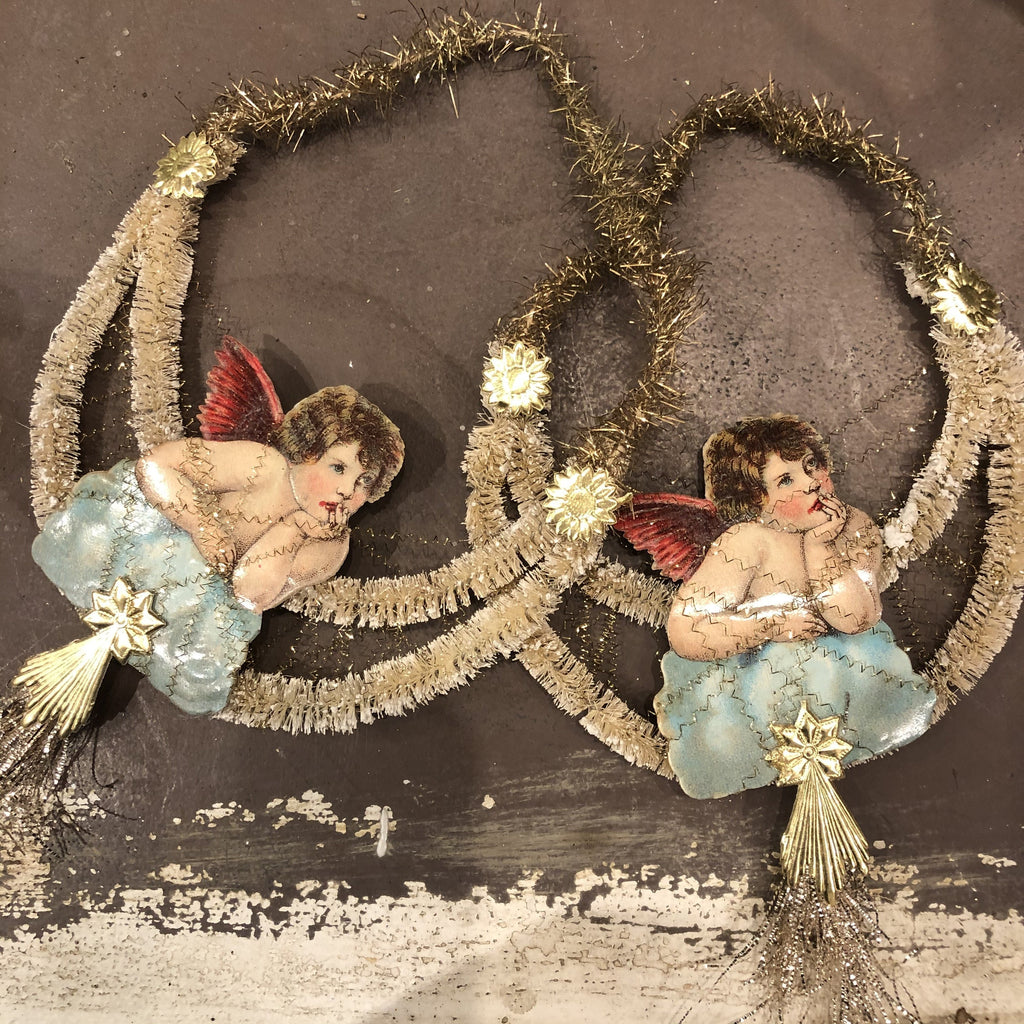Victorian Die-Cut Cherub Bottlebrush Ornament