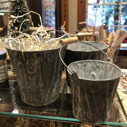 Set of 3 Textured Bark Zinc Pails