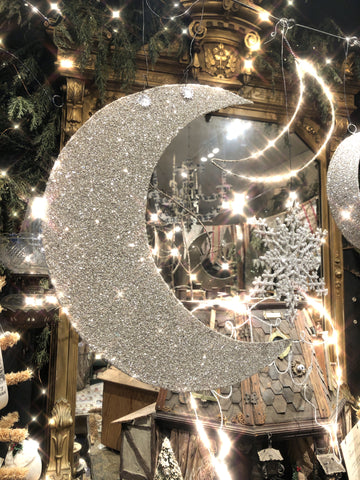 Large Glittered Crescent Moon